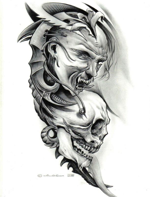 骷髅纹身素材